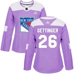 Tim Gettinger New York Rangers Women's Adidas Authentic Purple Fights Cancer Practice Jersey