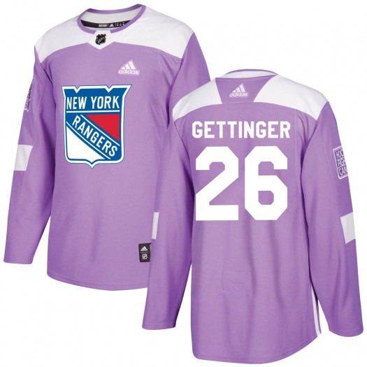 Tim Gettinger New York Rangers Youth Adidas Authentic Purple ized Fights Cancer Practice Jersey