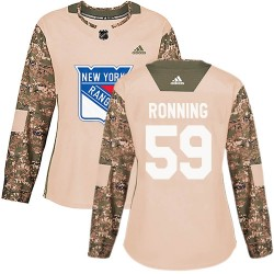 Ty Ronning New York Rangers Women's Adidas Authentic Camo Veterans Day Practice Jersey