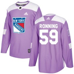 Ty Ronning New York Rangers Youth Adidas Authentic Purple Fights Cancer Practice Jersey