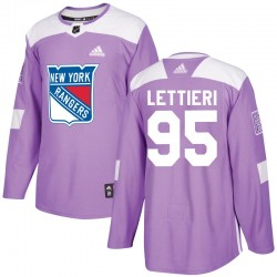 Vinni Lettieri New York Rangers Youth Adidas Authentic Purple Fights Cancer Practice Jersey
