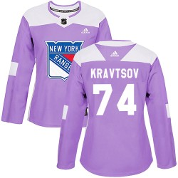 Vitali Kravtsov New York Rangers Women's Adidas Authentic Purple ized Fights Cancer Practice Jersey