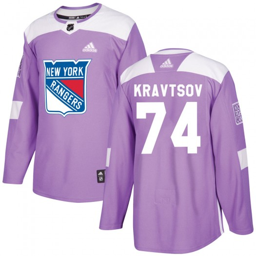 Vitali Kravtsov New York Rangers Youth Adidas Authentic Purple ized Fights Cancer Practice Jersey