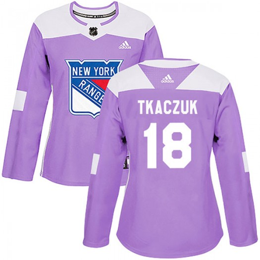 Walt Tkaczuk New York Rangers Women's Adidas Authentic Purple Fights Cancer Practice Jersey