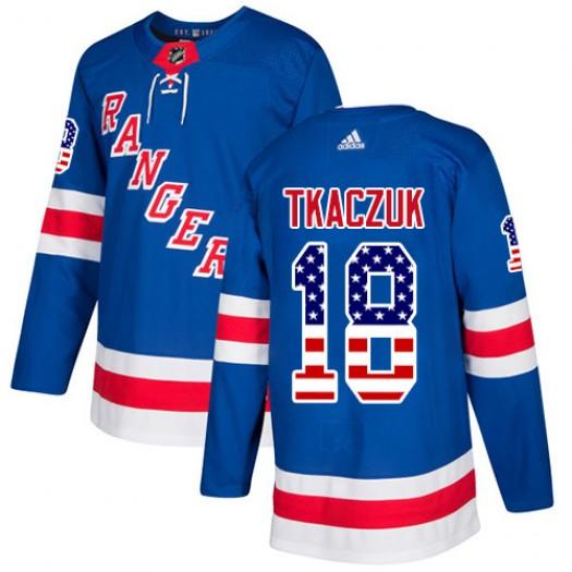 Walt Tkaczuk New York Rangers Youth Adidas Authentic Royal Blue USA Flag Fashion Jersey