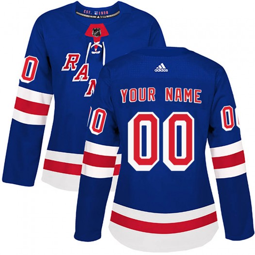 Women's Adidas New York Rangers Customized Authentic Royal Blue Home Jersey