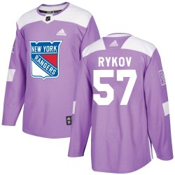Yegor Rykov New York Rangers Youth Adidas Authentic Purple Fights Cancer Practice Jersey