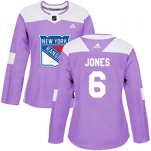 Zac Jones New York Rangers Women's Adidas Authentic Purple Fights Cancer Practice Jersey