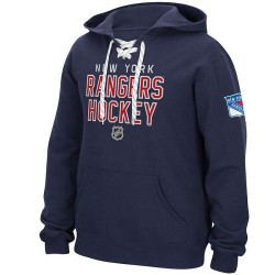 New York Rangers Men's Reebok Blue Stitch Em Up Lace Hoodie