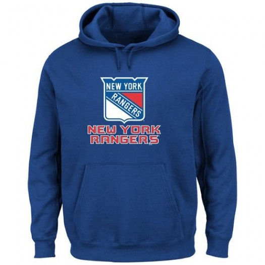 New York Rangers Men's Royal Blue Majsetic Critical Victory VIII Pullover Hoodie