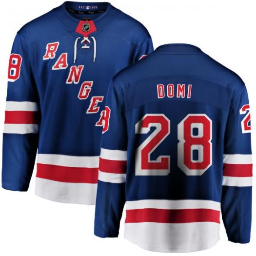 Tie Domi New York Rangers Men's Fanatics Branded Blue Home Breakaway Jersey