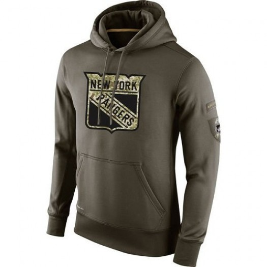 New York Rangers Men's Nike Olive Salute To Service KO Performance Hoodie