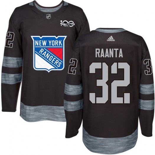 Antti Raanta New York Rangers Men's Adidas Authentic Black 1917-2017 100th Anniversary Jersey