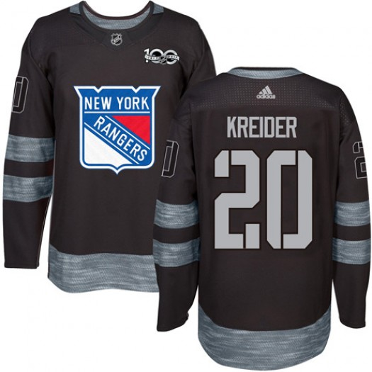 Chris Kreider New York Rangers Men's Adidas Authentic Black 1917-2017 100th Anniversary Jersey