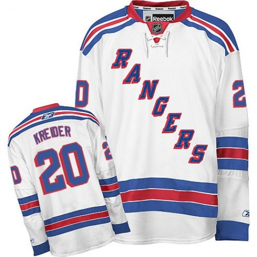Chris Kreider New York Rangers Men's Reebok Authentic White Away Jersey