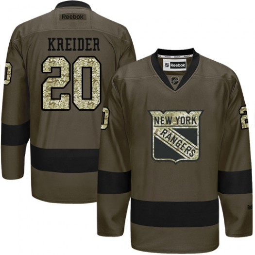Chris Kreider New York Rangers Men's Reebok Premier Green Salute to Service Jersey