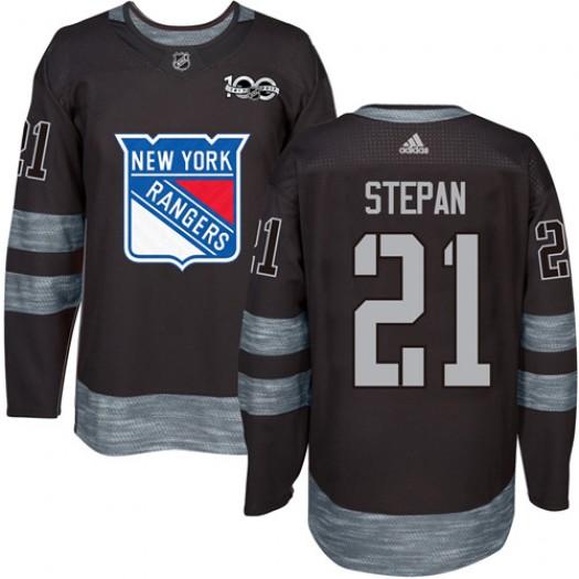 Derek Stepan New York Rangers Men's Adidas Authentic Black 1917-2017 100th Anniversary Jersey