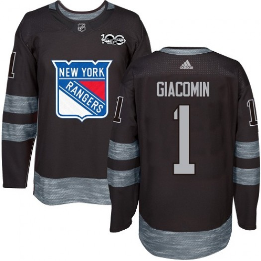 Eddie Giacomin New York Rangers Men's Adidas Authentic Black 1917-2017 100th Anniversary Jersey