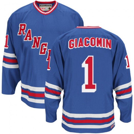 Eddie Giacomin New York Rangers Men's CCM Authentic Royal Blue Heroes of Hockey Alumni Throwback Jersey