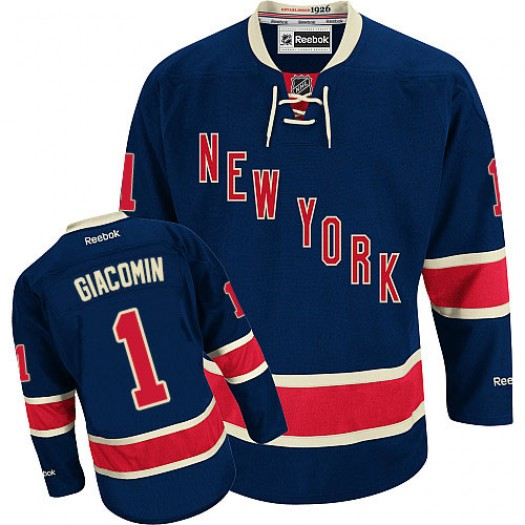 Eddie Giacomin New York Rangers Men's Reebok Authentic Navy Blue Third Jersey