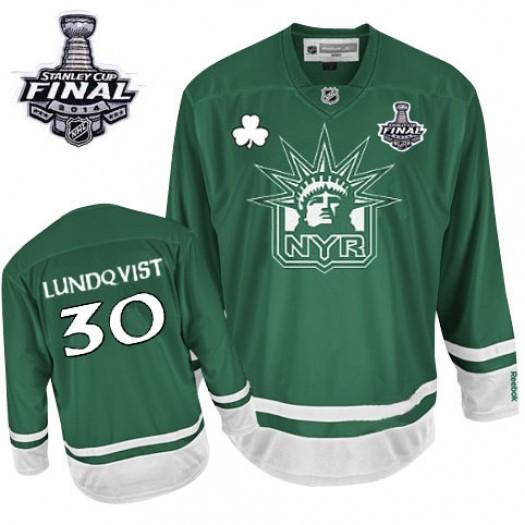 Henrik Lundqvist New York Rangers Men's Reebok Authentic Green St Patty's Day 2014 Stanley Cup Patch Jersey