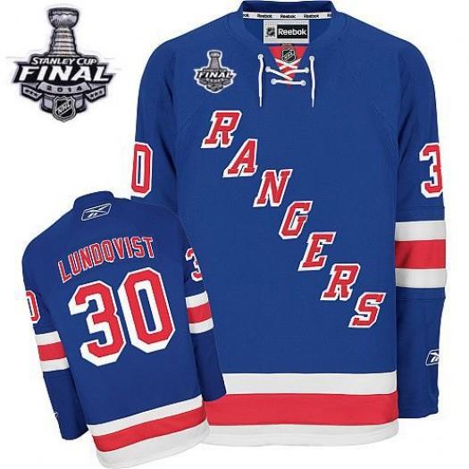 Henrik Lundqvist New York Rangers Men's Reebok Authentic Royal Blue Home 2014 Stanley Cup Patch Jersey
