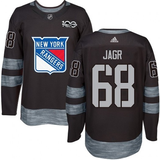 Jaromir Jagr New York Rangers Men's Adidas Authentic Black 1917-2017 100th Anniversary Jersey