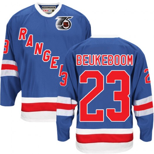 Jeff Beukeboom New York Rangers Men's CCM Authentic Royal Blue 75TH Throwback Jersey