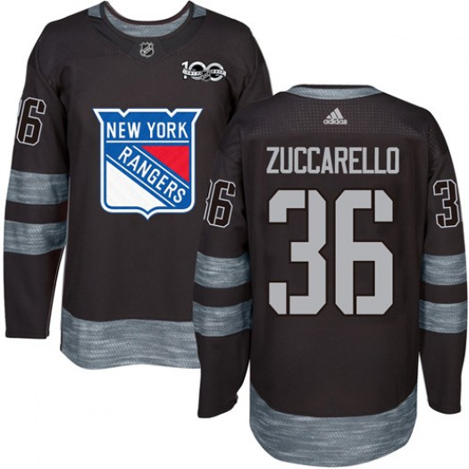 Mats Zuccarello New York Rangers Men's Adidas Authentic Black 1917-2017 100th Anniversary Jersey