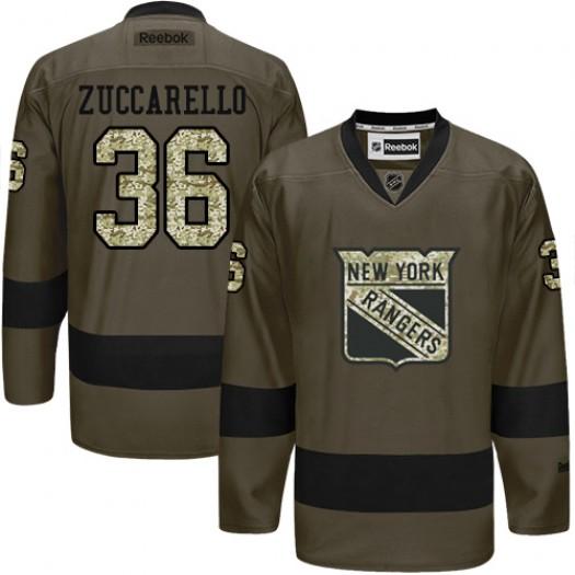 Mats Zuccarello New York Rangers Men's Reebok Premier Green Salute to Service Jersey