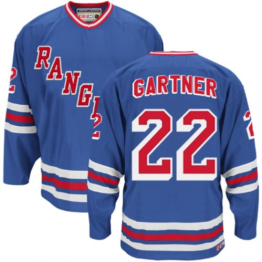 Mike Gartner New York Rangers Men's CCM Authentic Royal Blue Throwback Jersey