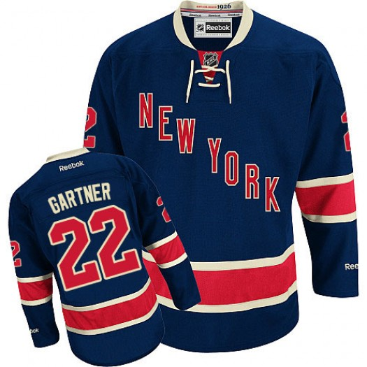 Mike Gartner New York Rangers Men's Reebok Authentic Navy Blue Third Jersey
