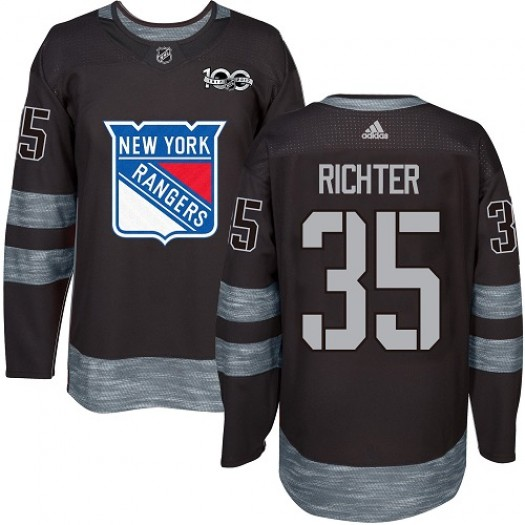 Mike Richter New York Rangers Men's Adidas Premier Black 1917-2017 100th Anniversary Jersey
