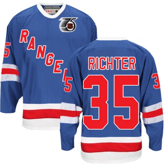 Mike Richter New York Rangers Men's CCM Authentic Royal Blue 75TH Throwback Jersey