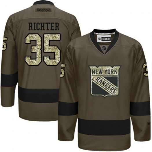 Mike Richter New York Rangers Men's Reebok Premier Green Salute to Service Jersey