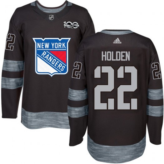 Nick Holden New York Rangers Men's Adidas Authentic Black 1917-2017 100th Anniversary Jersey