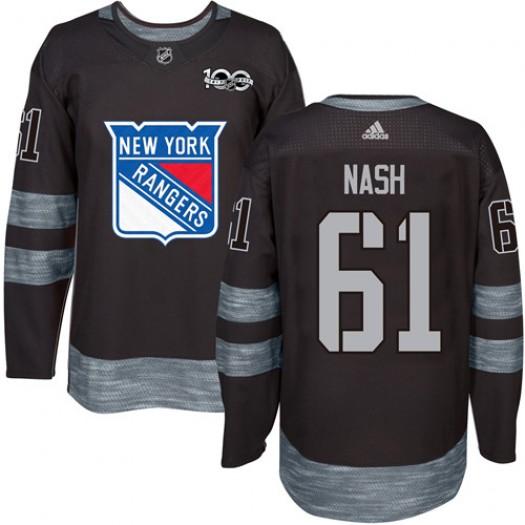 Rick Nash New York Rangers Men's Adidas Authentic Black 1917-2017 100th Anniversary Jersey