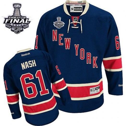 Rick Nash New York Rangers Men's Reebok Authentic Navy Blue Third 2014 Stanley Cup Patch Jersey