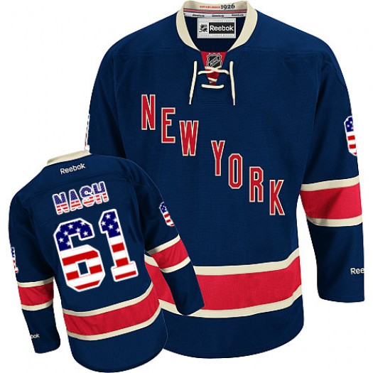 Rick Nash New York Rangers Men's Reebok Authentic Navy Blue USA Flag Fashion Jersey