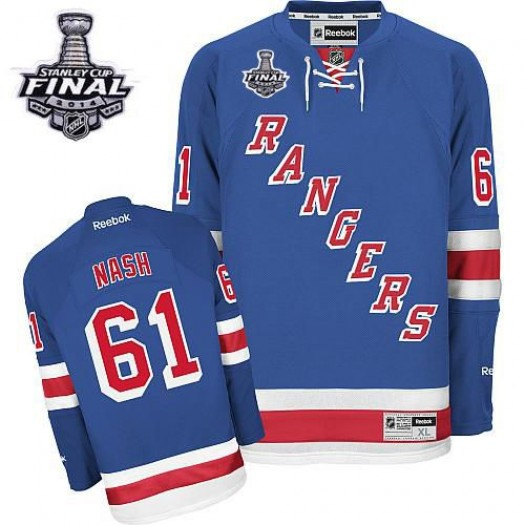 Rick Nash New York Rangers Men's Reebok Authentic Royal Blue Home 2014 Stanley Cup Patch Jersey