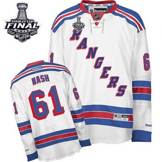 Rick Nash New York Rangers Men's Reebok Authentic White Away 2014 Stanley Cup Patch Jersey