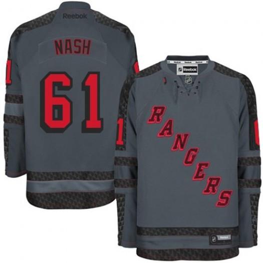 Rick Nash New York Rangers Men's Reebok Premier Charcoal Cross Check Fashion Jersey