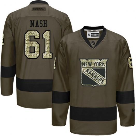 Rick Nash New York Rangers Men's Reebok Premier Green Salute to Service Jersey