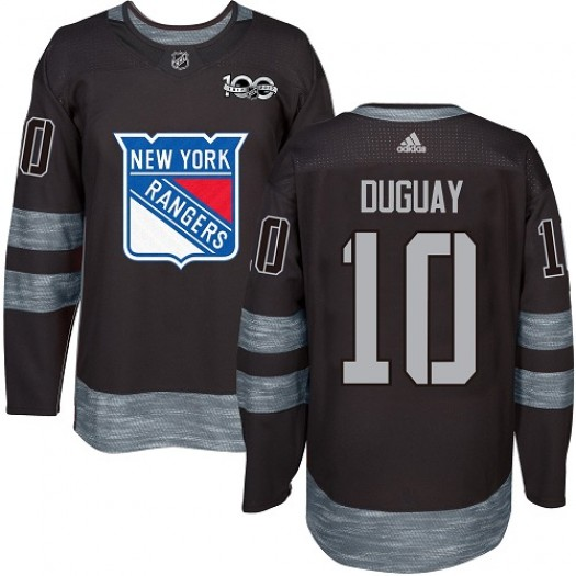 Ron Duguay New York Rangers Men's Adidas Authentic Black 1917-2017 100th Anniversary Jersey