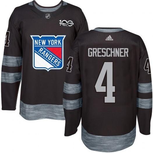 Ron Greschner New York Rangers Men's Adidas Authentic Black 1917-2017 100th Anniversary Jersey
