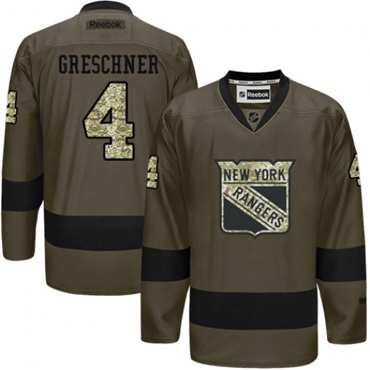 Ron Greschner New York Rangers Men's Reebok Premier Green Salute to Service Jersey