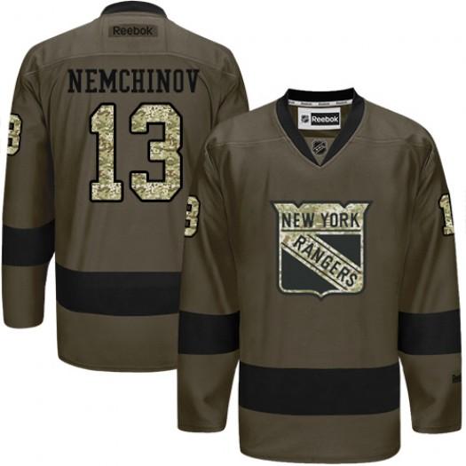 Sergei Nemchinov New York Rangers Men's Reebok Authentic Green Salute to Service Jersey