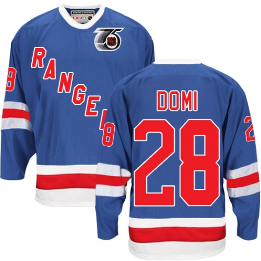 Tie Domi New York Rangers Men's CCM Authentic Royal Blue 75TH Throwback Jersey