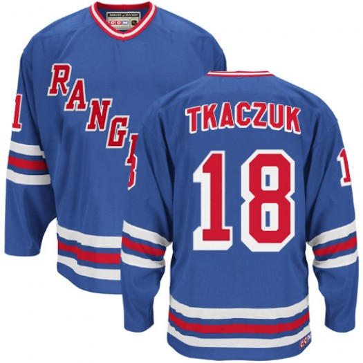Walt Tkaczuk New York Rangers Men's CCM Authentic Royal Blue Heroes of Hockey Alumni Throwback Jersey