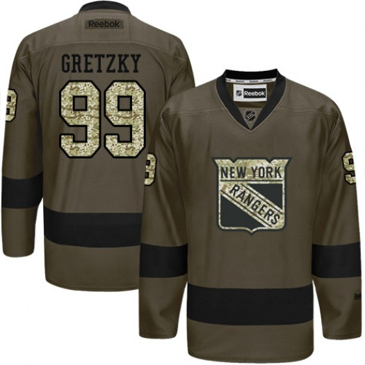 Wayne Gretzky New York Rangers Men's Reebok Authentic Green Salute to Service Jersey